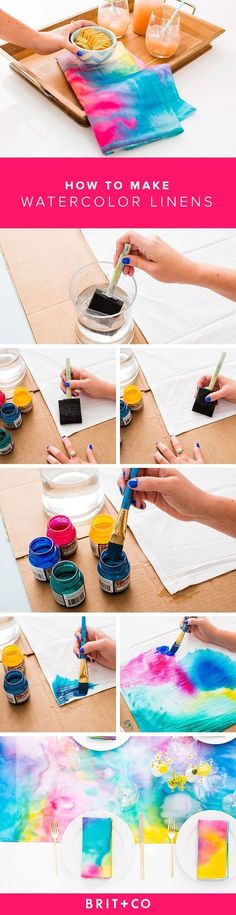 Spice up your dining room table with DIY watercolor linens. Spice up your dining room table with DIY watercolor linens. The post Spice up your dining room table with DIY watercolor linens. Craft Projects, Sewing Projects, Projects To Try, Sewing Crafts, Diy And Crafts, Arts And Crafts, How To Dye Fabric, Dyeing Fabric, Fabric Painting