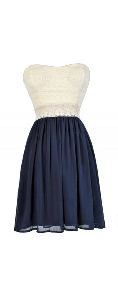 Bright Days Chiffon and Lace Dress in Light Navy  www.lilyboutique.com