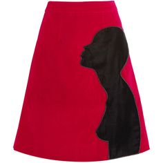 Christopher Kane Appliquéd cotton-blend velvet skirt (2,010 PEN) ❤ liked on Polyvore featuring skirts, christopher kane, red, velvet skirt, red skirt, knee length a line skirt and a line skirt