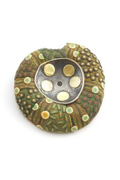 Brooch | Ford & Forlano.  Polymer, sterling silver, gold leaf