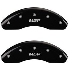Set of 4 MGP Caliper Covers, 48002Smgpbk, Engraved Front and Rear: MGP, Black Powder Coat Finish, Silver Characters