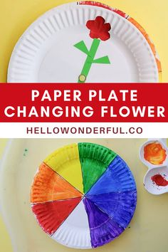 Rainbow Paper Plate Flower Learning Activity. Preschool learning activity and craft.