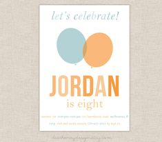 Modern Balloon Invitation, Balloon Birthday Party, Up Up and Away Birthday, PRINTABLE, Printing Available, Boy Birthday, Girl Birthday by DearHenryDesign on Etsy https://www.etsy.com/listing/162887033/modern-balloon-invitation-balloon