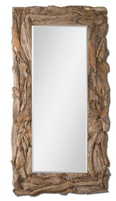 Large Teak Root Mirror, Rectangular Rustic Mirror, 39x79