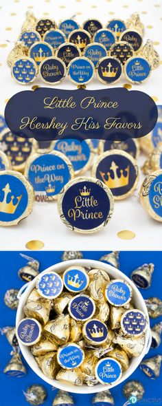 Royal Announcement - A New Little Prince is on the Way!  Create your own Blue and Gold Prince Baby Shower Candies! #babyboy #babyshower #itsaboy
