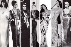 "Cher in assorted Bob Mackie gowns. From the 1980's book ""Dressing for Glamour"""