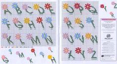 Schema punto croce Alfabeto fiorellino