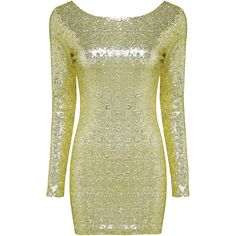 Yoins Gold Sequin 3/4 Length Sleeve Dress (€28) ❤ liked on Polyvore featuring dresses, gold, bodycon dress, sequin party dresses, cocktail party dress, gold sequin dress and green party dress