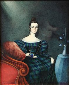 """""""Portrait of Lady in Plaid,"""" 1830s"""