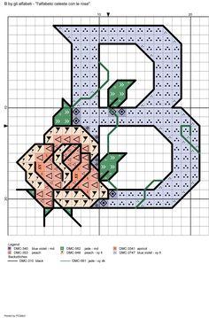 alfabeto celeste con le rose: B