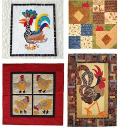 Some free patterns for chickens and roosters - see our post at Quilt Inspiration