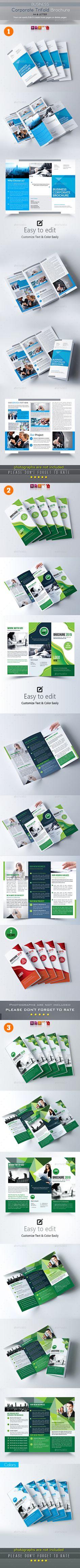 Trifold Brochure Templates Bundle Vector EPS, InDesign INDD, AI Illustrator