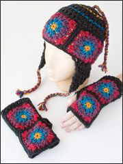 Granny Square Hat & Gloves.... I can make these to match my many granny square cardigans i have made...