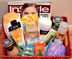 Wellness Gift Basket for New Mom - magazine, body wash, razors, lotion, bath poof, Frappuccino, eye shadow, lip balm, cleansing towlettes, peppermint bark, m&ms,