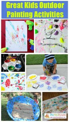 Great Kids Outdoor Painting Activities via The Mad House Kids Painting Activities, Outdoor Activities For Kids, Painting For Kids, Craft Activities, Activity Ideas, Summer Activities, Color Activities, Crafts For Kids To Make, Projects For Kids