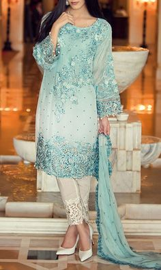 Buy Aqua Embroidered Chiffon Dress by Maria B. 2016