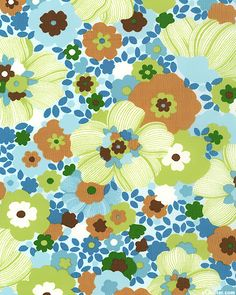 Garden Potpourri Powder Blue 100% cotton