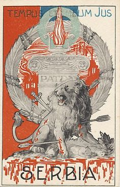 Italian (produced in Firenze / Florence ) WWI patriotic card showing symbols of the 'pierced' Serbia, which German ally Austria occupied at the start of World War I. Original, scarce card in top cond World War I, Old World, Ww2 Propaganda Posters, Masonic Symbols, Symbolic Tattoos, Art Deco Design, Kirchen, Coat Of Arms, Wwi