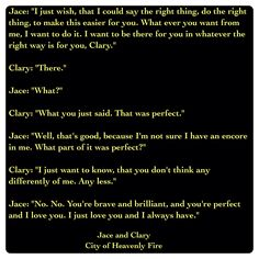 Jace Lightwood and Clary Fairchild (City of Heavenly Fire by Cassandra Clare ~ The Mortal Instruments book Quote- i love clace so much Mortal Instruments Quotes, Immortal Instruments, Shadowhunters The Mortal Instruments, Shadowhunters Clary And Jace, Jace Lightwood, Clary Fray, Serie Got, Shadowhunter Academy, Will Herondale