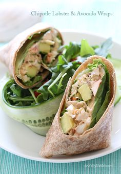 Chipotle Lobster and Avocado Wrap - a spicy lobster salad with avocado, scallions, cilantro and lettuce on a whole wheat wrap.