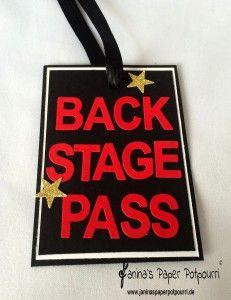 jpp - Backstage Pässe / movie themed party ideas / Hollywood Party Ideen / Stampin' Up! Berlin / Beeindruckende Buchstaben Thinlits www.janinaspaperpotpourri.de