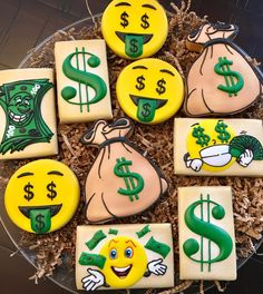 Iced Cookies, Yummy Cookies, Sugar Cookies, Themed Birthday Cakes, Themed Cupcakes, Cookie Money, Cookie Designs, Cookie Ideas, Arabian Party