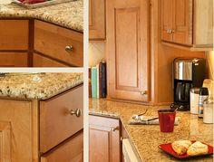 Maple Cabinets With Granite Countertops Updated Kitchen, New Kitchen, Kitchen Dining, Kitchen Decor, Kitchen Ideas, Kitchen Updates, Decorating Kitchen, Dining Rooms, Maple Kitchen Cabinets