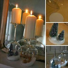 Stemware Snow Globe Candle Holder - this is beautiful. Photo doesn't do it justice. Noel Christmas, Diy Christmas Gifts, Winter Christmas, Holiday Crafts, Holiday Fun, Christmas Decorations, Holiday Decor, Christmas Scenes, Christmas Ideas
