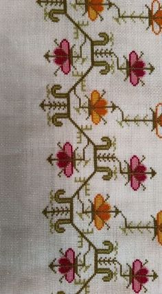 This Pin was discovered by Neş Folk Embroidery, Embroidery Patterns Free, Cross Stitch Embroidery, Knitting Patterns, Cross Stitch Borders, Cross Stitch Designs, Cross Stitch Patterns, Palestinian Embroidery, Bargello