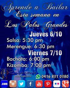 Aprende a #Bailar esta primera semana de #octubre en #LosPalosGrandes  Jueves 6/10 - #Salsa: 5:30 pm - #Merengue: 6:30 pm  Viernes 7/10 - #Bachata: 6:00 pm - #Kizomba: 7:00 pm  Invita un amigo al #SanoVicioDeBailar  Comparte esta imagen en tu instagram haciendo #Repost  INICIANDO #TALLERES... Incorpórate  #Rumbacana #BailaParaDivertirte  #Venezuela #Caracas #Baile  #AcademiaDeBaile