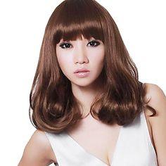 Capless Medium Curly Hair Stylish Synthetic Full Bang Wigs Honey Brown – USD $ 23.99
