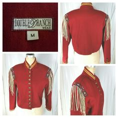DOUBLE D RANCH vintage Equestrian jacket Medium DOUBLE D RANCH Vintage red wool pig suede fringe Equestrian military beaded jacket size Medium women. Gold buttons on front. Excellent condition.   Please read measurements before purchasing.   Arm pit to arm pit: 21 inches  Length top shoulder to bottom of jacket: 20 inches  Shoulder to shoulder: 17 inches  Sleeve length: 21 inches  Waist band: 19.5 inches across Double D Ranch Jackets & Coats Blazers