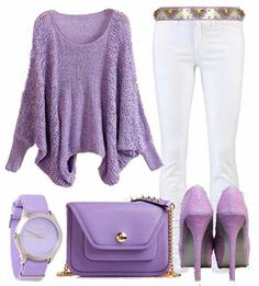 For the Love of the lavender coloured Outfit!purple is too dark… Lila Outfits, Purple Outfits, Colourful Outfits, Casual Outfits, Cute Outfits, Fashion Outfits, Colorful Clothes, Purple Fashion, Love Fashion