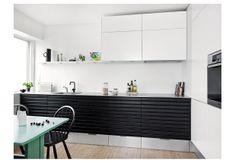Black & White. Thin stainless benchtop