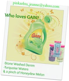 Pink Zebra Custom Fragrance GAIN If you LOVE the smell of Gain, but don't want to do laundry to get it- PZ Sprinkles in your warmer will get you there! Your home will smell like you are always cleaning with this combo in your simmer pot. Order Here Stone Washed Denim, Turquoise Water and a pinch of Honeydew Melon pinkzebra_jeanne@yahoo.com #gain #freshlaundry #cleanhome