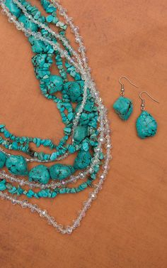 Chunky Multi-strand Layered Turquoise Necklace and Earring Set