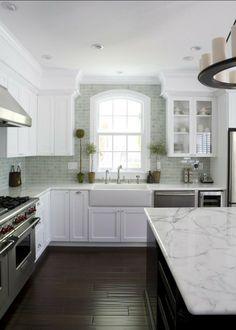 Popular White Kitchen with whtie granite countertop