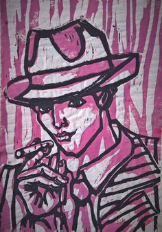 """""""What a Hat!"""" (Pink Edition), linoleum on silkpaper, 17x30cm, 2011"""