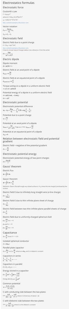 Electrostatics formulas, Also tutorials, formulas and answers on many physics topics Physics Topics, Physics Notes, Electric Field, Study Materials, Tutorials, Wizards, Teaching
