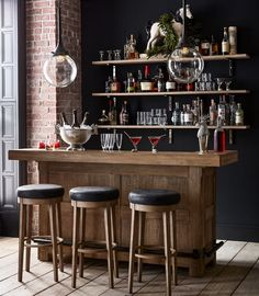 Cheers to the New Year! ✨🥂🍾How are you ringing in . Home Bar Rooms, Home Bar Areas, Home Bar Decor, Pottery Barn Bar, Bar Counter Design, Octagon House, Utensil Storage, Home Bar Designs, Man Room