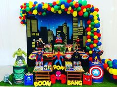 The decoration for a memorable and incredible birthday party, whatever the theme chosen, requires good planning. Superman Birthday Party, Superhero Theme Party, Avengers Birthday, Avengers Party Decorations, Birthday Party Decorations, Birthday Parties, Baby, Avengers Birthday Cakes, Avengers Birthday Parties