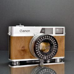 Vintage Canonet Mansonia camera, with hand-made wooden veneer casing made by ILOTT.