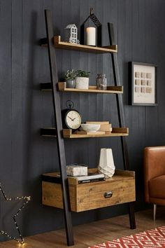 Bookcases & Shelves Corner Shelves & Shelving Units is part of Ladder shelf decor - Arrange your coveted book collection in bookcases & shelves, while accentuating with quirky accessories Next day delivery & free returns available Ladder Shelf Decor, Wooden Ladder Shelf, Bathroom Ladder Shelf, Cheap Home Decor, Diy Home Decor, Bookcase Shelves, Shelving Units, Corner Shelves, Ladder Bookshelf
