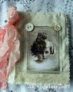 Shabby Petite HANDMADE Fabric Book with collage images