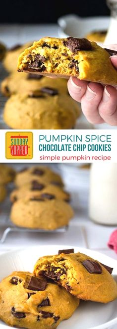Pumpkin Spice Chocolate Chip Cookies are a simple cookie recipe that permeates the home with comforting scents and results in smiling children. The pumpkin spice flavors combined with melty chocolate makes the perfect cookie treat, especially for fall when you need to get your pumpkin spice fix!