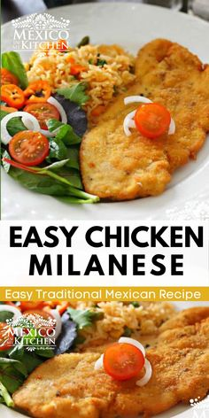 Chicken Milanese Mexicana, a meal crispy and golden treat for your dinner. A popular midday meal or dinner all over Mexico. This traditional Mexican meal is ready in 30 minutes or less, serve with a side of Mexican red rice, a salad with a few slices of avocado, some warm corn tortillas, and spicy homemade salsa. Real Mexican Food, Mexican Food Recipes, Mexican Potluck, Mexican Chicken, Milanese Recipe, Chicken Milanese, Traditional Mexican Food, Homemade Salsa, Keto