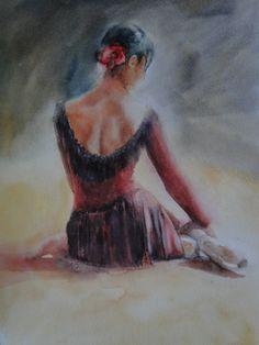 ARTFINDER: Carmen by Zoe James-Williams - Ballerina in Carmen, the ballet. Watercolor on watercolour paper