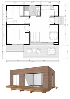 Modern House Plans, Small House Plans, House Floor Plans, Bungalow House Design, Small House Design, Casa Loft, House Construction Plan, Casas Containers, Small Modern Home