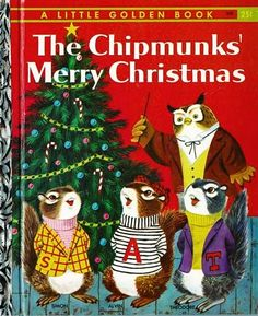 """1959 1st Ed 'The Chipmunks' Merry Christmas' Little Golden Book - """"A"""" First Printing / Richard Scarry Early Illustrations"""