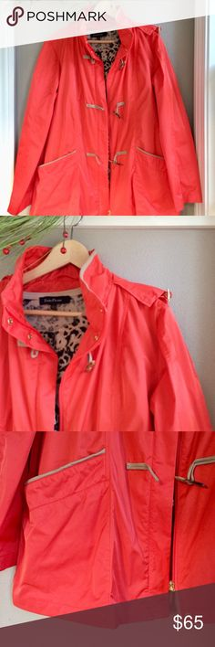 XL Rainforest Jacket XL Rainforest brand jacket. Lightweight and easily packable, perfect for travel! Detachable hood. Bright orange, beautiful color, with real leather trim. High end, gorgeous jacket I would be keeping if in my size. Excellent pre-owned condition, looks brand new! Bundle for additional discounts and seller offers. **Will consider best offer. RAINFOREST Jackets & Coats